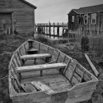 Old Wooden Rowboat BW